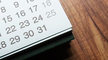 calendar sitting on desk